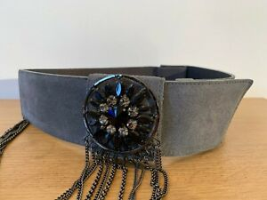 PINKO grey suede thick waist cinch belt with diamante & stone buckle Medium £135