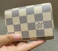 Authentic LOUIS VUITTON Damier Azur White Leather  Card Case Business card holde