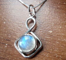 Moonstone Circle in Square 925 Sterling Silver Pendant Corona Sun Jewelry