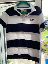 Navy And White Stripe Mens Hollister Soft Polo Shirt Size M