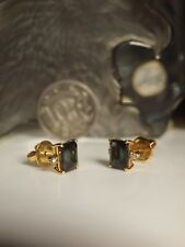 GENUINE / SOLID 18CT YELLOW GOLD LADIES DIAMOND AND NATURAL GREEN STONE EARRINGS