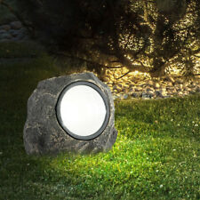 """Garten Deko Außen Lampe Weg Leuchte braun 2er Set LED Solar Steine /""""Spot/"""""""