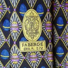 Gray Blue Purple Eggs Foulard FABERGE Silk Tie