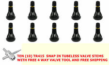 """(10) TR 415 Short Fat Snap-In Tbls Tire Valve Stems 1 1/4"""" .625"""" Hole  FREE TOOL"""