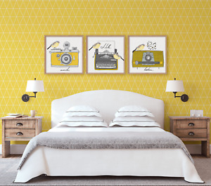 Retro Mustard Wall Art Prints. Mustard & Grey Art Prints. Ochre Wall Art Prints