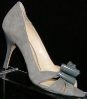 Enzo Angiolini 'Molinia' gray suede peep toe ribbon slip on heels 6.5M