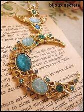 collier sautoir lune bleue strass longue chaîne dorée bijou
