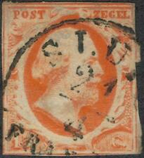 1852 Netherlands 15c stamp S3 Fine used/hinge/medium cancel TMM*