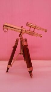 """Vintage Telescope Solid Brass Double Barrel Spyglass With Wooden Tripod 10"""" Gift"""