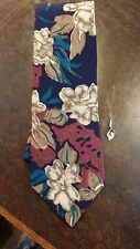 Cellini Blue Red Floral Abstract Executive Designer Mens Necktie Free Shipping