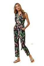 Brand New Ex Wallis Black Floral Tropical Print Wrap Jumpsuit Sizes 8-20 RRP £48