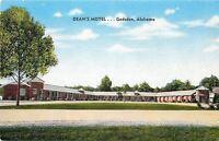 Gadsden Alabama~Dean's Motel~1940s Linen Roadside~Postcard