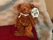 """RUSS BERRIE 100th ANNIVERSARY BROWN TEDDY BEAR 9"""" SOFT TOY PLUSH RETIRED NEW TAG"""