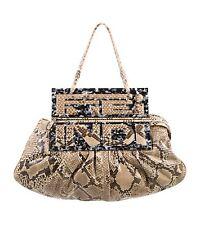FENDI Brown SNAKESKIN PYTHON SHOW BAG TO YOU HOBO/CLUTCH RETAIL $5,040