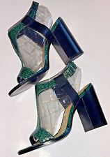 NEW 7 Anthropologie KELSI DAGGER Jade Snake Leather Gabbie Heels Sandals T-Strap