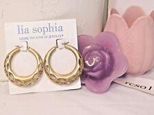 """Lia Sophia Gold """"Coliseum"""" Hoop Earrings, 1-3/4"""" diameter, Nwt"""
