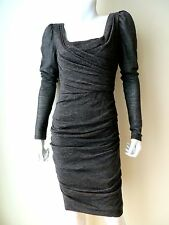 DOLCE & GABBANA, GREY WOOL RUCHED KNIT LONG SLEEVE DRESS, SIZE 42, 6US