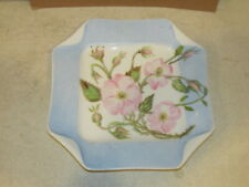 Pink Blossom on Blue Square Tray Dish Marked H & Co. Very Good