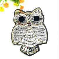 Owl Reversible Change color Sequins Sew On Patches For Clothes DIY Crafts BRIL