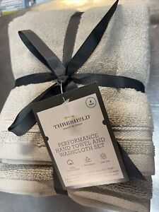 Lot Of 4 2 Threshold Brown Hand Towel 16x28 13x13 Set 2 Handtowels Bath