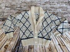 New listing Vintage Retro Mohair Sweater Off White Gray Black Diamond Pattern Small