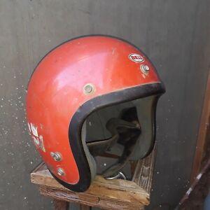 Rare Vtg Bell Toptex Super Magnum Orange Motorcycle Helmet Sz 7 1/8 & cool Visor