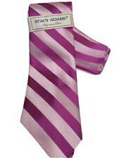 Stacy Adams Men's Tie Hanky Set Pink Fuchsia Striped Pattern 100% Microfiber