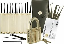 20-Piece Lock Pick Set with Transparent Padlock Lock Cowboy Keyed Padlocks Set