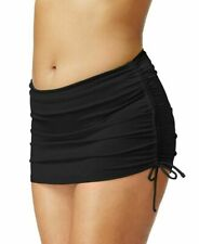 Island Escape Plus Size Side Tie Ruched Swim Skirt Black 18 NWOT