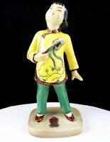 "GOLDCREST CERAMICS CHINESE GIRL BY H LINDDOFF YELLOW & GREEN 6 5/8"" FIGURINE"