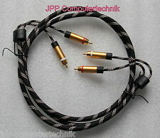 1,5m Audio Stereo Chinch Kabel 4 Cinch Stecker Premium Metall vergoldet 24k GOLD
