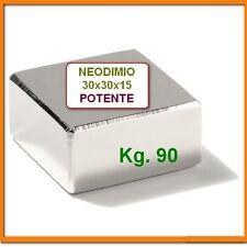 MAGNETE 30x30x15 mm. 80 kg N45 MAGNETI Extra Forte NEODIMIO Calamita Super Forte