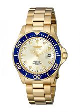 Invicta Unisex-Armbanduhr Pro Diver 14124 Quarz Analog Edelstahl Gold-IP Blau