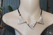 Faux suede & Rhinestones Gold plated fashion bib necklace