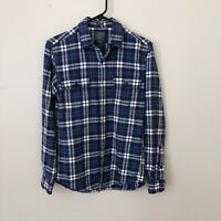 J CREW SPORTING GOOD Flannel Shirt Blue White Tartan Plaid Check Vtg 90s Size S