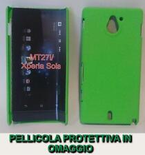 Pellicola + custodia BACK cover RIGIDA VERDE per Sony Xperia sola MT27i