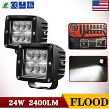 2x 3inch Led Cube Pods Work Light Bar Flood Beam Driving Fog Offroad Atv Utv 4x4