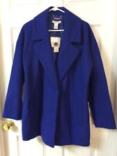 Liz Claiborne Exotic Blue Coat Women's Large 56% Wool Jacket Lined New with Tags