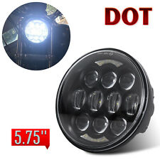 "DOT 5-3/4"" 5.75"" Halo LED Headlight Black Projector Headlamp for Motorcycle Bike"