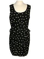 DARLING Women Sleeveless Black Polka Dot Dress Fully Lined Ruffles Sz XL NWT