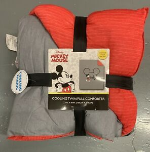 Disney Mickey Mouse Twin / Full Reversible Cooling Comforter Gray / Red NEW