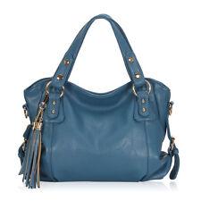 Womens Handbags in Vegan Leather Tassel Shoulder Bags Messenger Tote Hobos Blue