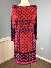 Donna Morgan Red Purple Geo Print Dress Stretch 8 EUC 3/4 sleeve career cocktail