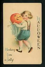Halloween postcard Wolf 21-3 Child boy w/ pumkin JOL Vintage