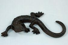 Gusseien Gekko Salamander Eidechse Garten Deko Figur Skulptur Metall braun
