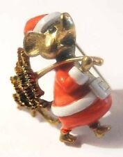 JJ Mouse in Enamel Santa Suit+Christmas TREE Pin~EUC~Vintage Jonette Xmas Brooch