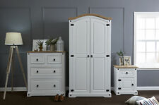 White Corona 3 Piece Trio Bedroom Furniture Set - Wardrobe, Chest, Bedside