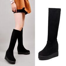 Womens Hidden Wedge Platform Heels Knee High Stretch Socks Boots Muffins Shoes