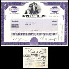Broker Owned Stock Certificate: Kink & Co, payee; Uv Industries Inc, issuer