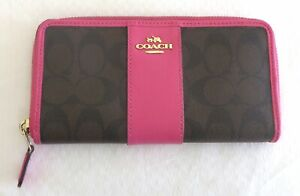 Coach Brown & Pink Wallet Signature Monogram Purse